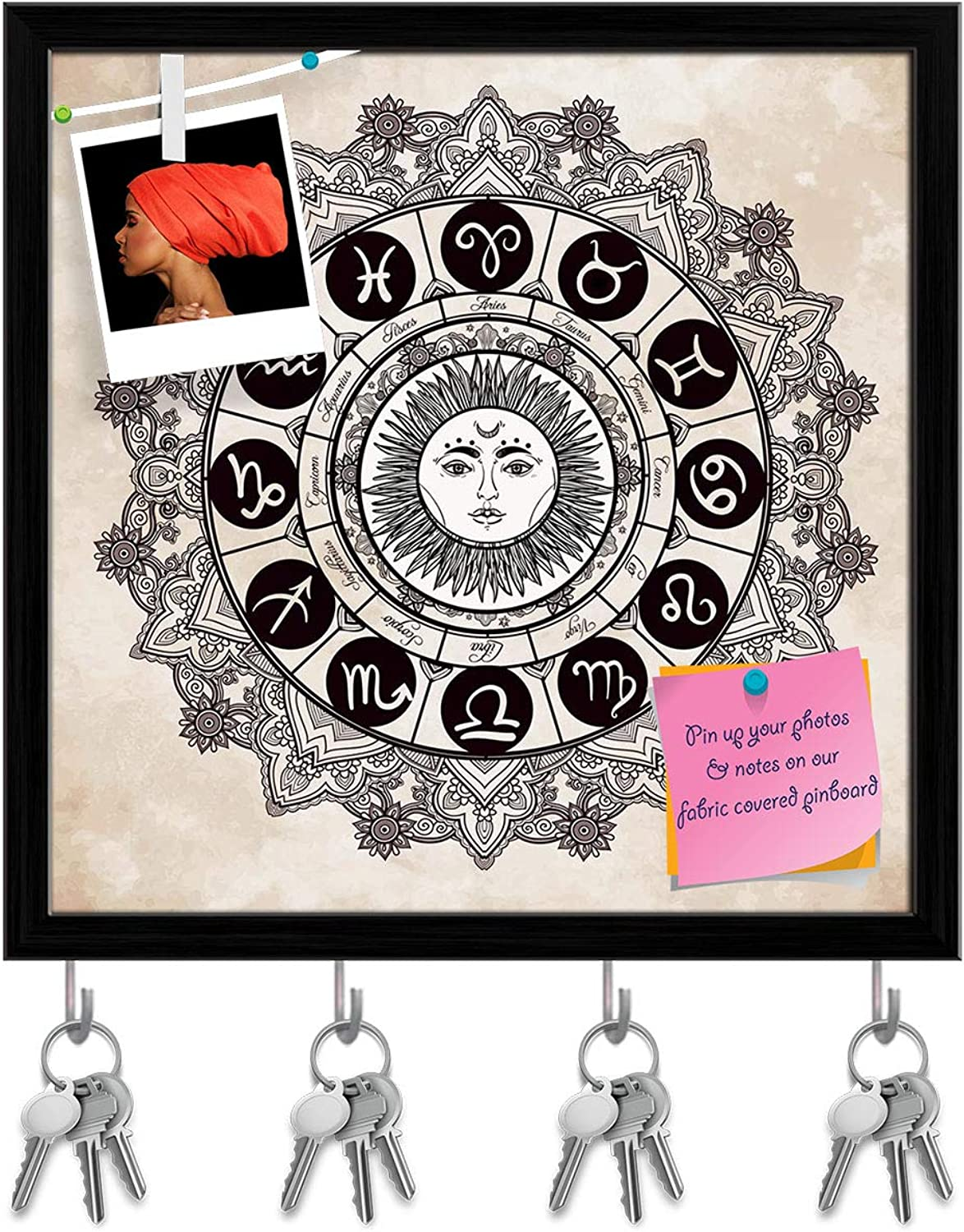 Artzfolio Zodiac Set with Sun in The Middle Key Holder Hooks   Notice Pin Board   Black Frame 20 X 20Inch