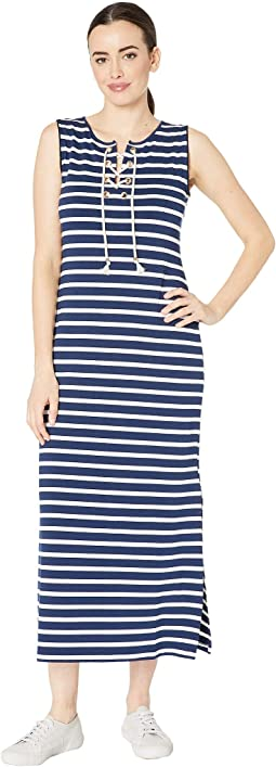 Pique Stripe Knit Sleeveless Lace-Up Maxi Dress
