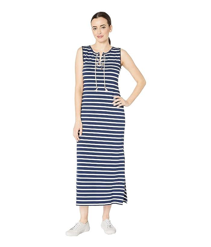 Tribal Pique Stripe Knit Sleeveless Lace-Up Maxi Dress (Ink) Women