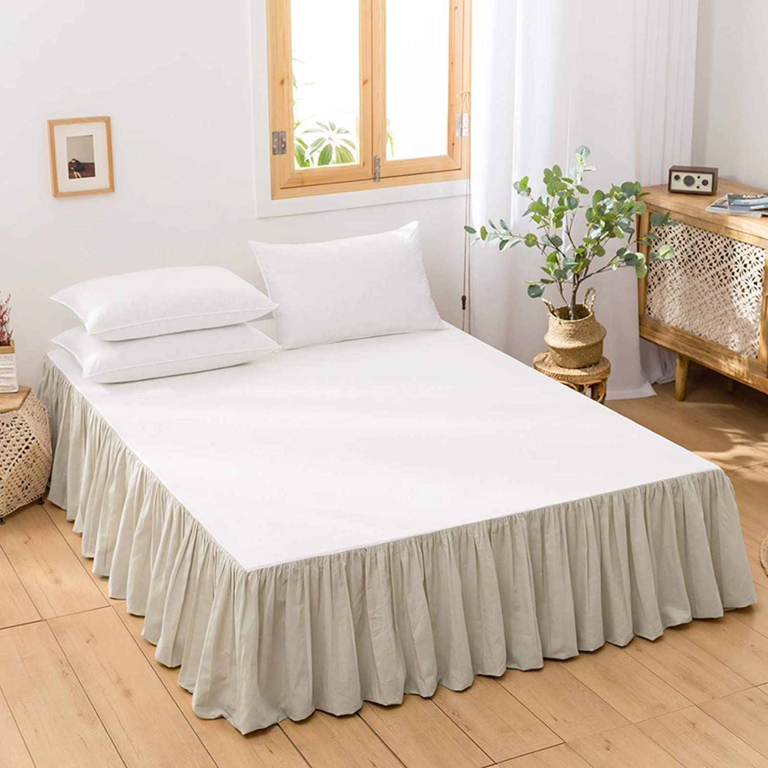 BISELINA French Linen Bed Skirt gift with Frills 14-Inch Recommended Tail Pleated