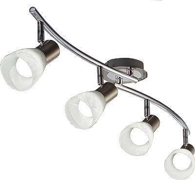 B.K.Licht plafonnier LED 4 spots orientables, ampoules LED E14 5W incluses, éclairage LED plafond chambre salon salle à manger couloir cuisine, métal/verre, lumière blanche chaude