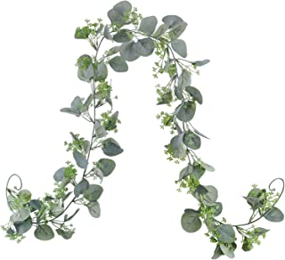 "70"" Green Seeded Eucalyptus Garland,Faux Eucalyptus Garland Plant Fake Silver Dollar Eucalyptus Leaves Greenery Hanging Vine Garland Artificial Silk Eucalyptus for Table Mantel Wedding Centerpieces De"
