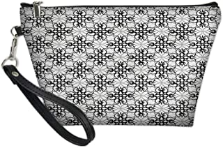 Zipper Multifunction Pouch Purse Case Bag Organizer,Victorian Lace Flower Pattern Curved Blooms Lines Vintage Work of Art Print,Travel Cosmetic Ttoiletry Wallet Card Holder Pen
