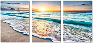 Youk-art 3 Panel Canvas Wall Art for Home Decor Blue Sea Sunset White Beach Painting The Picture Print On Canvas Seascape the Pictures For Home Decor Decoration,Ready to Hang 16x24 Inch 3pcs/set
