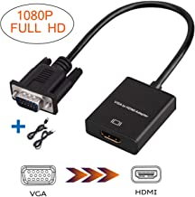 VGA to HDMI Adapter,1080P VGA to HDMI TV Converter Compatible Computer, Desktop, Laptop, PC, Monitor, Projector, HDTV with Audio Cable and USB Cable