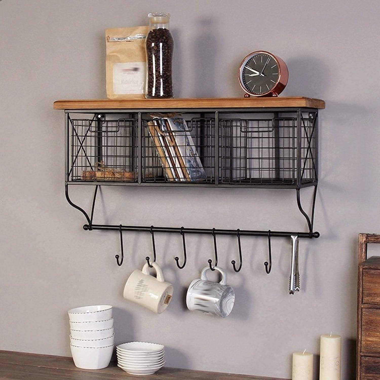 Tingting-Wall Mounted Coat Rack Wall Mounted Coat Rack The Door Hook Hanger Wall Hooks Grid Drawer Adjustable Hook Solid Wood Racks Nail Inssizetion (Black, 2 Sizes, 2 Styles) (Size   64  39)
