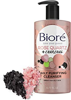 Biore Rose Quartz Charcoal Daily Purifying Cleanser, Face Wash, Naturally Purifies Pores & Energizes Skin, Dermatologist T...
