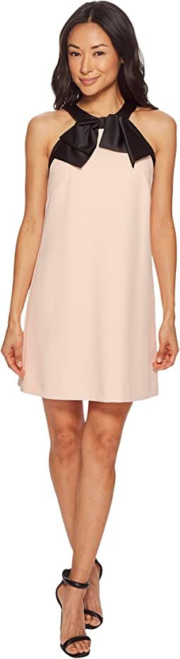 Tahari by ASL - Petite Crepe/Satin Bow Neck Shift Dress