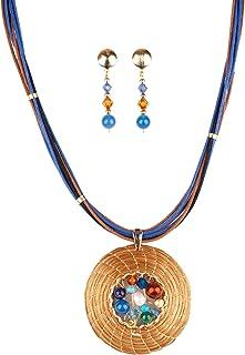 Conjunto Collar Dorado en Oro Vegetal con Piedras, Cristales Swarovski y Pendientes (Azul)