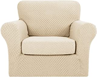 MAXIJIN 2 fundas para silla de jacquard con brazos súper elásticos antideslizantes para sala de estar, perros y mascotas, funda protectora para sofá (1 plaza, beige claro)