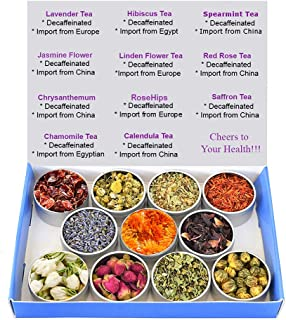 Sponsored Ad - Tea Sampler - Flower Tea - Decaffeinated - Herbal - Chrysanthemum - Mint - Saffron - Hibiscus - Lavender - ...
