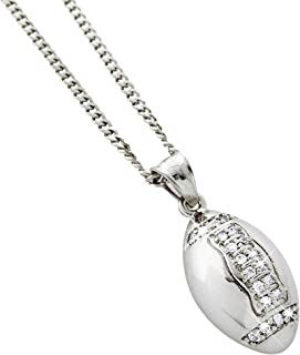 Exo Jewel Stainless Steel CZ Diamond Silver Football Pendant Necklace with 24