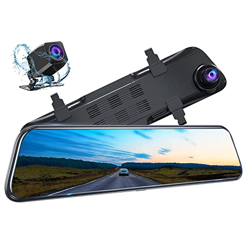 Kingslim DL12 Pro 4K Mirror Dash Cam, 12  Front and Rear Dash Camera for Cars with Dual Sony Sensor, GPS Tracking, Super Night Vision, Waterproof Backup Camera and Parking Assistant