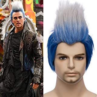 Mersi Men Costume Wigs Hades Cosplay Short Straight Blue Ombre White Wig for Halloween Cosplay Party S043BW