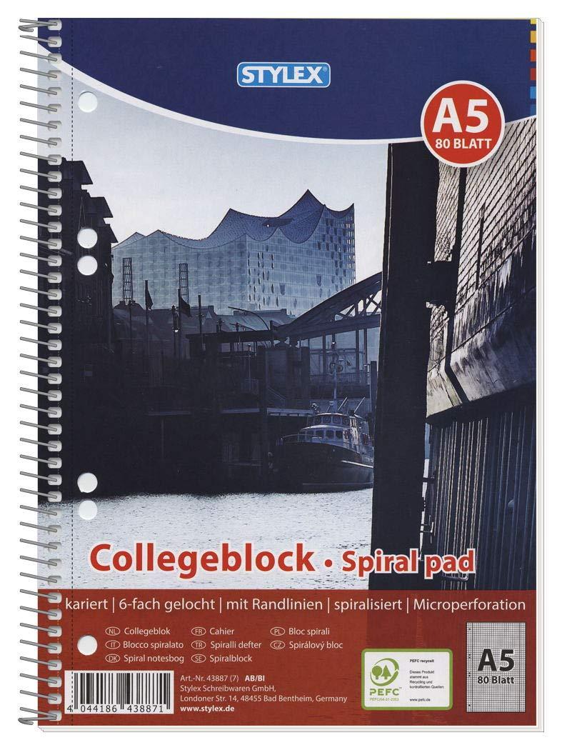Kariert DIN A4 Stylex 43876-P6 Links-und Rechtsh/änd-Er Spiral-Collegeblock 6-er Packung