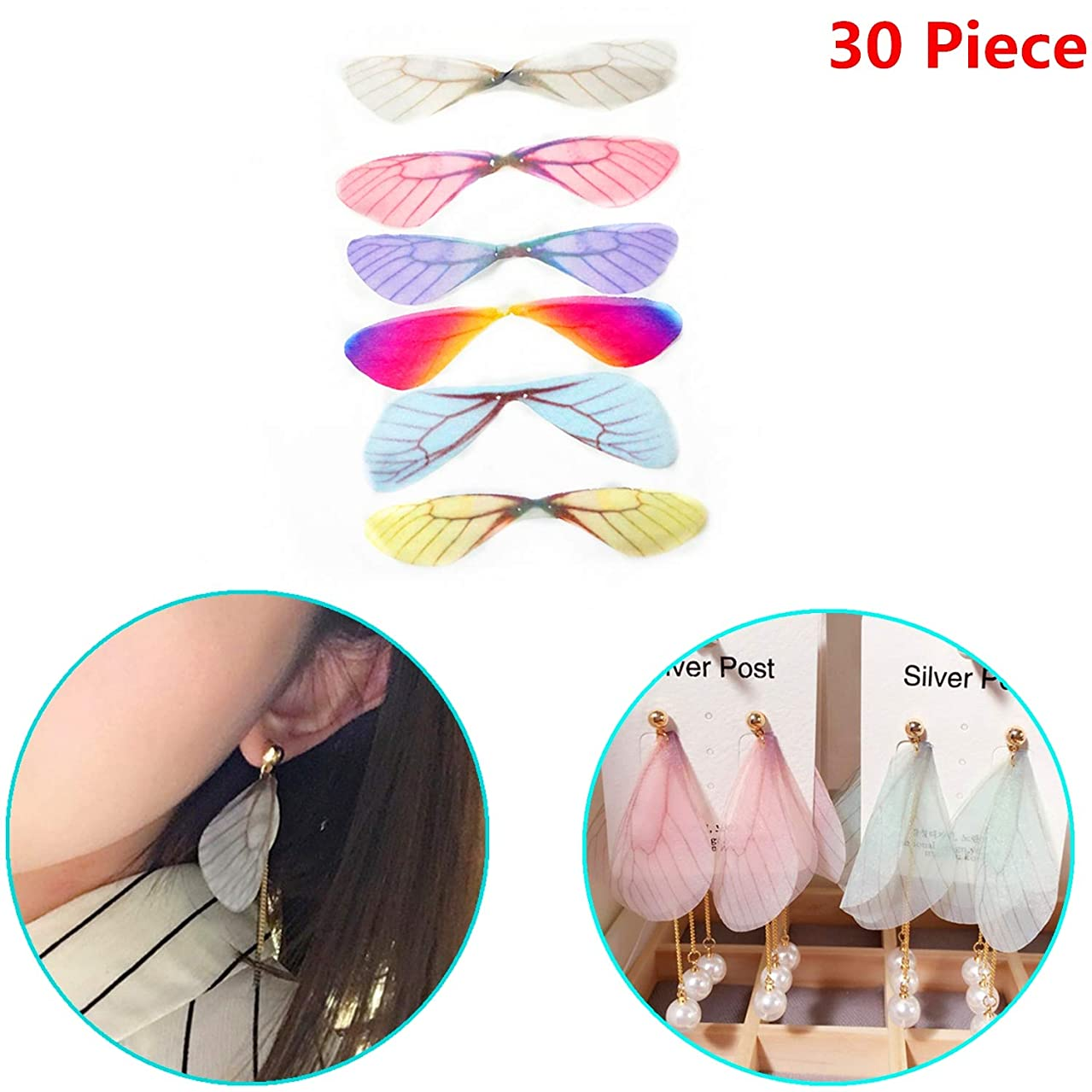 Xinhongo 30 Piece Fashion Dragonfly Wings Charms for DIY Butterfly Dragonfly Wings Jewelry Crafts Making Earring Necklace Hair Clip Decoration (6 Color)