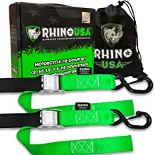 RHINO USA Motorcycle Tie Down Straps (2 Pack) Lab Tested 3,328lb Break Strength, Steel..