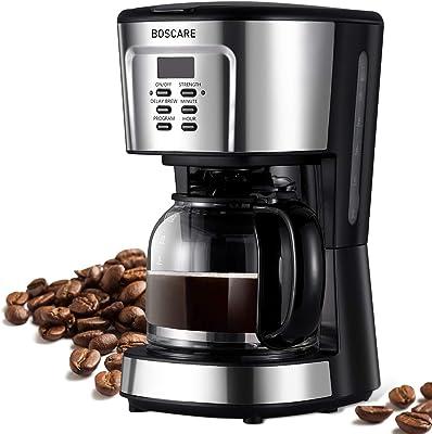 BOSCARE Cafetera programable, cafetera de goteo de 2 a 12 tazas, mini cafetera con apagado automático, control de fuerza, color plateado y negro