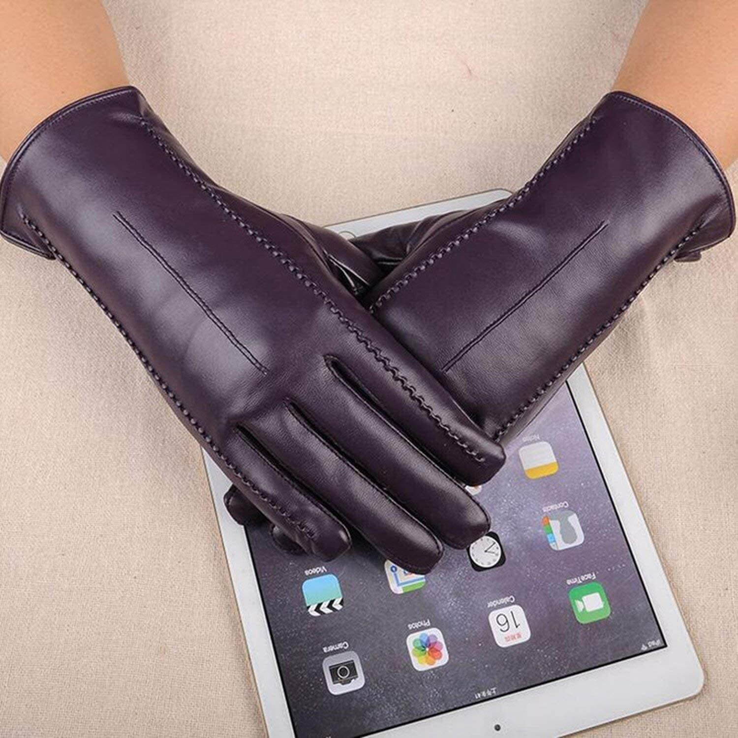 Samantha Warm Gloves Gloves Leather Female Winter Plus Coral Velvet Warm Black Glove Women Driving Touch Phone Screen Glove Mittens (Color : Purple, Size : One Size)