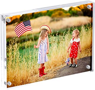 5x7 Acrylic Frames,Clear 5x7 Double Sided Acrylic Picture Frame,Desktop Acrylic Magnetic Photo Frames,Picture Display Stand Holder for Family Love Baby First Day 5 by 7, 20% Extra Thick Blocks