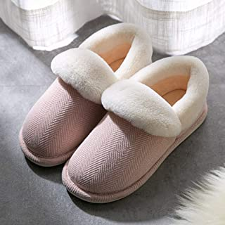 JWWOZ Couple Slippers, Men's Winter Cotton Slippers, All-Inclusive Heel, Foot 360 Degrees to Warm, Non-Slip Indoor Slippers, Outdoor Slippers, Warm and Comfortable (Color : A, Size : 37-38)