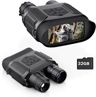 """BNISE Digital Night Vision Binoculars for Completely Darkness, Take Images & Videos with Audio, 7x31MM Infrared Spy Gear for Hunting & Surveillance - 4"""" Large Screen & 1300ft Viewing Range"""