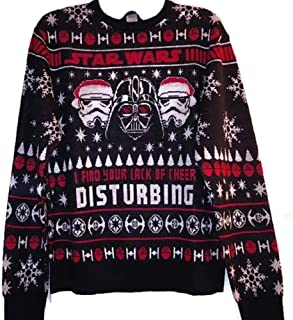 Christmas Star Wars Darth Vader 'I Find Your Lack of Cheer Disturbing' Black Pullover Sweater Men's Medium