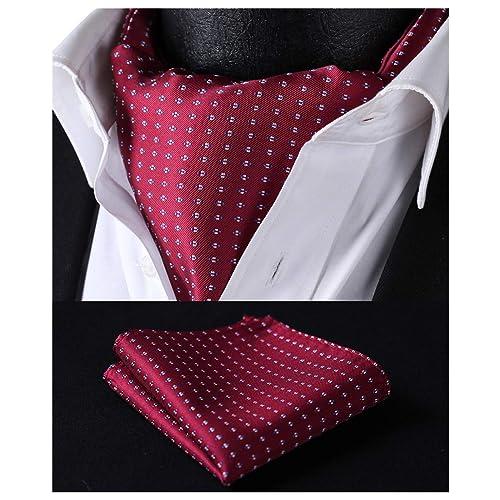 4a8f10ee2d675 HISDERN Men's Ascot Polka Dot Jacquard Woven Gift Cravat Tie and Pocket  Square Set