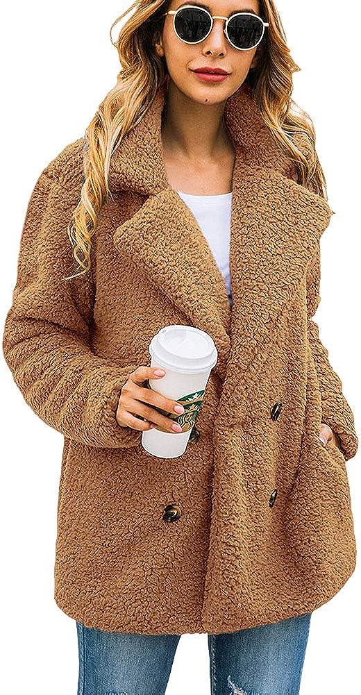 Women?s Casual Coat Fuzzy Fleece Double Breasted Open Front Button Lapel Cardigan Jacket Coat Faux Shearling Winter Outwear