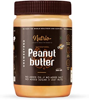 Nutrio Natural Peanut Butter Creamy 500GM (Organic | Unsweetened | Pre Workout Supplements | Weight Loss/Gainer)