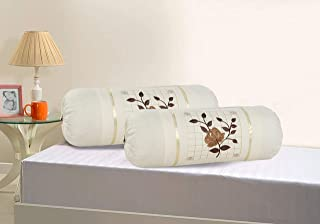 Rj Products™ Cotton Bolster Cover Set of 2 Piece Beautiful Rose Embroidery Skin Color