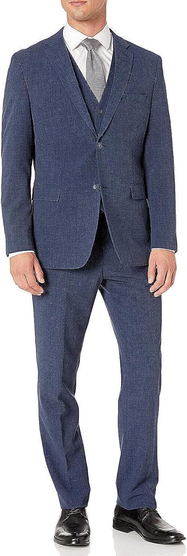 Adam Baker Men's Single Breasted Stretch Slim Fit Stretch 2-Button Vested Suit Set - Colors