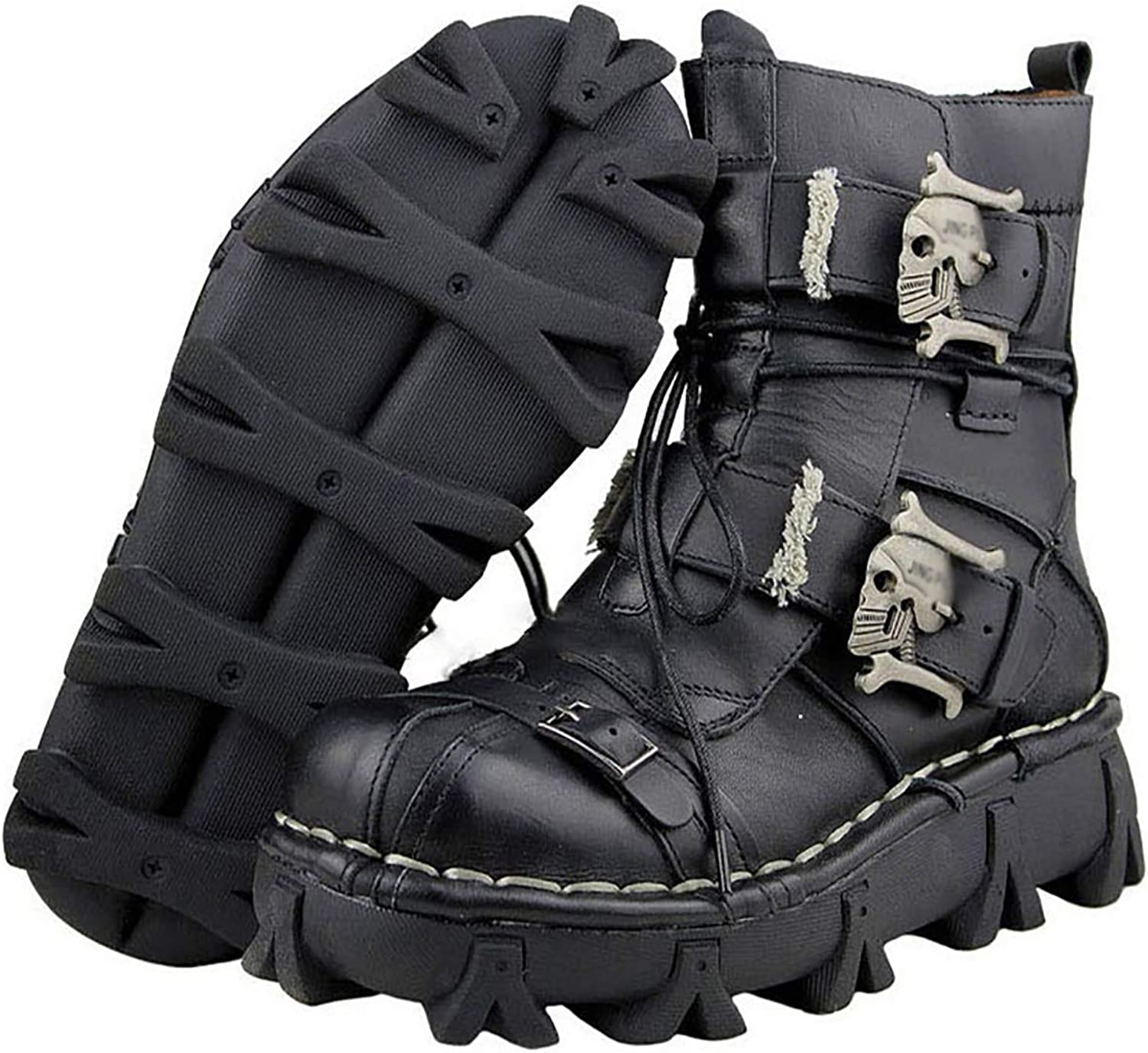 Men's high-top Motorcycle Rider Boots, Ghost Head Martin Boots, lace Leather shoes Desert shoes,Black,48