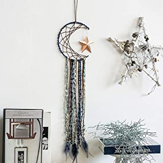JOXJOZ Dream Catcher for Kids-Handmade Pentagram Shape Design Gray Feather Dream Catchers-Wall Art Hanging Home Party Decoration Dorm Ornament Craft Gift (Moon)