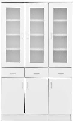 大川家具 nakakei 食器棚 カップボード スコール 90cm幅 ホワイト 213199