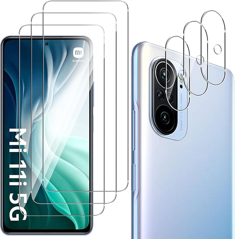 QULLOO Protector de Pantalla para Xiaomi Poco F3 5G / Xiaomi Mi 11i 5G [3 Piezas] + Protector de Lente de Cámara [3 Piezas], 9H HD Alta Sensibilidad Cristal Templado