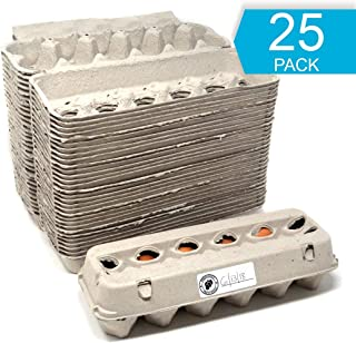 Egg Cartons - 25 PACK - Free Labels Included - 100% recycled materials - Made in North America - Bulk Cheap Blank Egg Cartons Pack Of 25 - See Color Of Eggs Inside