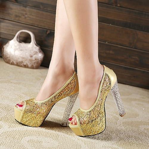DIDIDD Sandales D'été Féminins avec des Talons Hauts en Cristal Poisson Bouche Fil Net Chaussures Creux Dames,Or,37