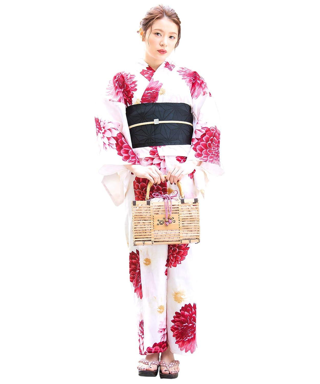 (ソウビエン)レディース浴衣セット 白系 アイボリー 赤 ダリア 菊 花 綿 女性 花火大会