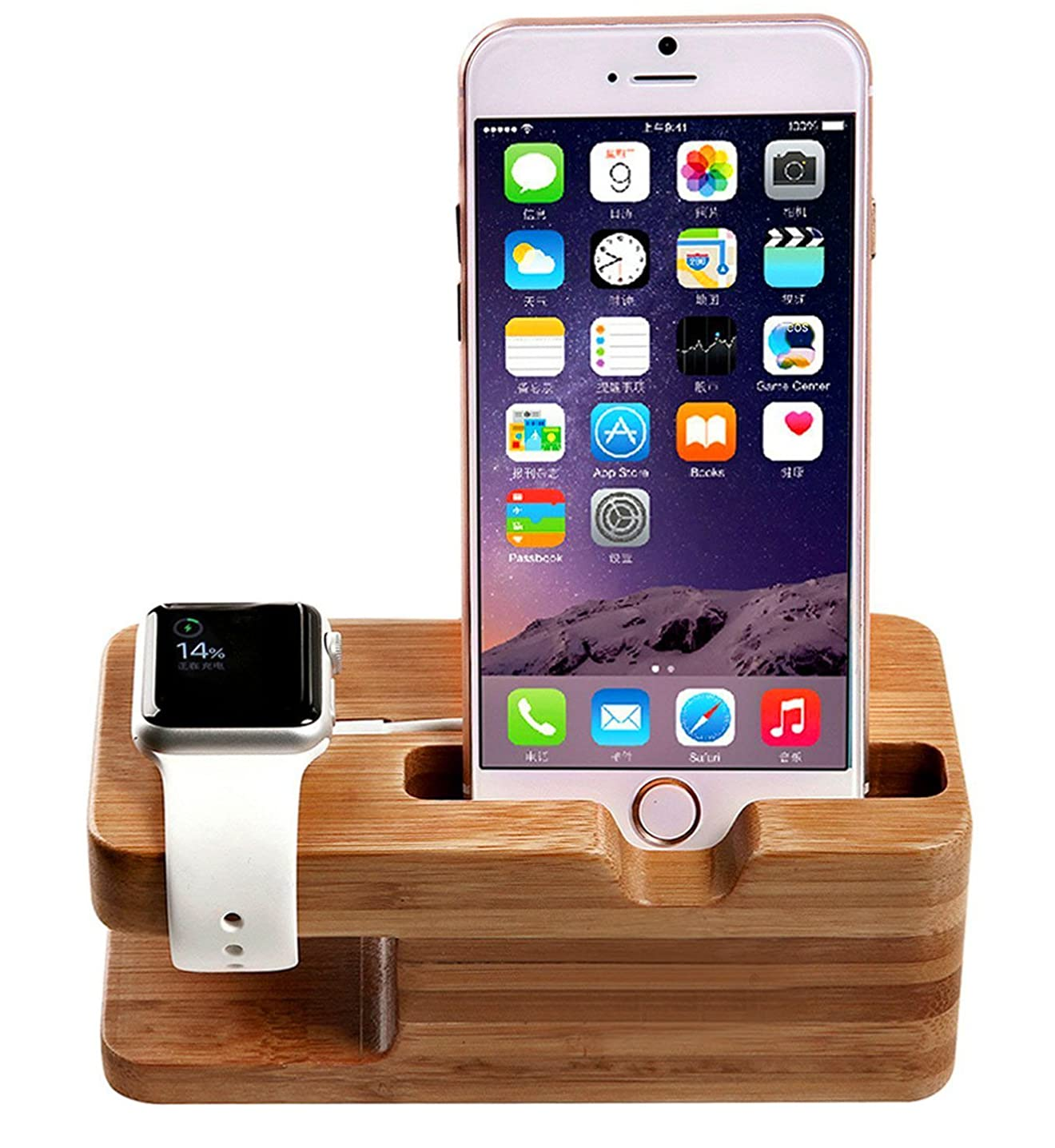 Watch Stand, AICase iWatch Bamboo Wood Charging Holder for Apple Watch & iPhone X/ 8/8 Plus/ 7 Plus 6 6 plus 5S 5 (Light Brown)
