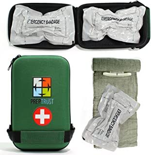 Prep Trust Emergency First Aid Israeli Battle Dressing Compression Bandage, (Two 6 Inch bandages with Case-Green)