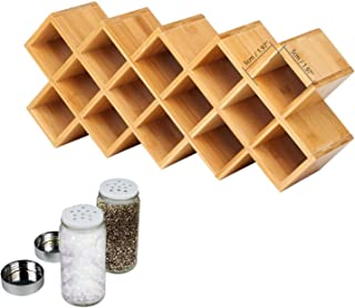 Bamboo Spice Rack, 18-Jar Bamboo Countertop Spice Rack Organizer,Free Standing Spice Organiser (18