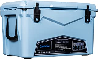 Seavilis Heavy Duty roto Molded ICE cheset Cooler 45qt (Sky Blue)(Hanging Wire Basket,Divider and Cup Holder are Free
