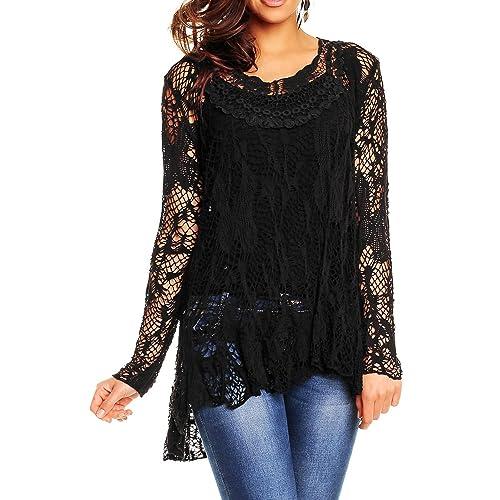 f8246155fa3 Red Olives® Womens Ladies Italian Leganlook Long Sleeve Lace Crochet Dip  Fish Hem Tail Mesh