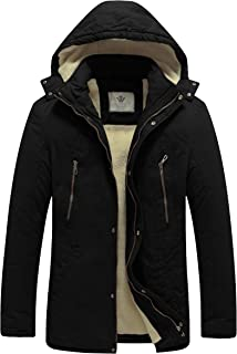 WenVen Men`s Winter Washed Cotton Sherpa Lined Military Work Parka Hooded Jacket