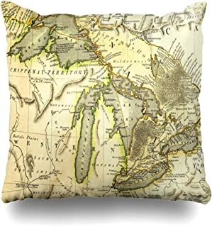 Ahawoso Throw Pillow Covers Antique Michigan Early Map Great Lakes Printed Bordeaux Historic Vintage Ontario Old Erie Superior Home Decor Zippered Pillowcase Square Size 20 x 20 Inches Cushion Case