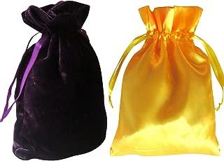"Tarot Bags: Dark Purple Velvet and Daffodil Yellow Satin Duo Bundle (6"" X 9"" Each)"
