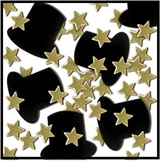 Beistle 50647-GD Fanci Fetti Top Hats and Mini Stars, 1 Ounce In Package