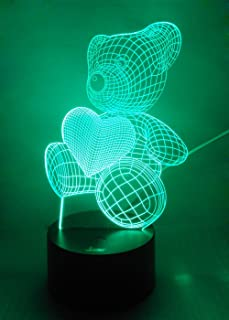 Teddy Bear 3D Night Light LED Illusion Lamp Bedside Desk Table Lamp, Loveboat 7 Color Changing Lights with Acrylic Flat and ABS Base and USB Charger as Home Decor