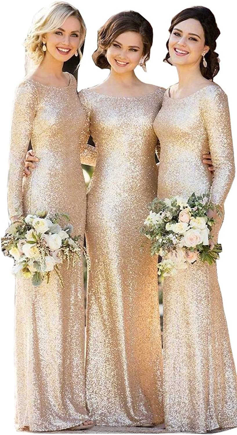 Chenghouse Sequined Bridesmaid Dresses Scoop Neck Long Sleeves Bridesmaid Gowns